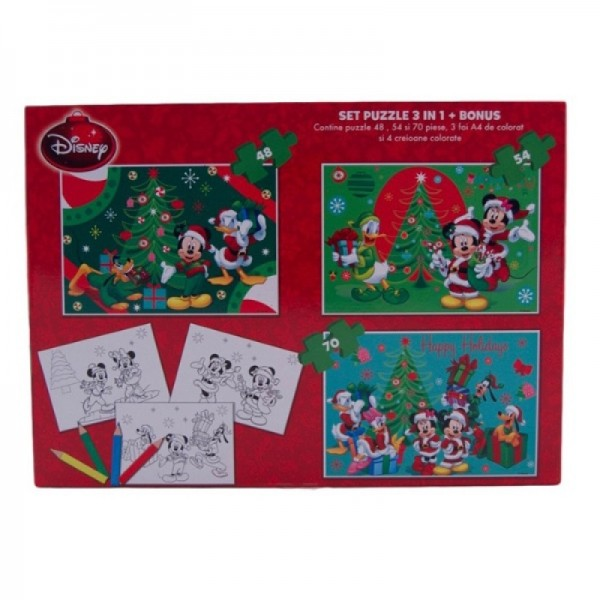 Puzzle Christmas Mickey 3 in 1